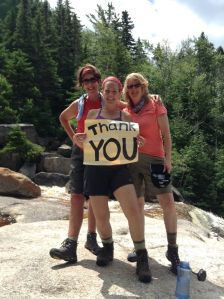 Meg Costello (L) with Team Leader, Jess Cook (Middle) and fellow hiker, Ginny Mooney (R)